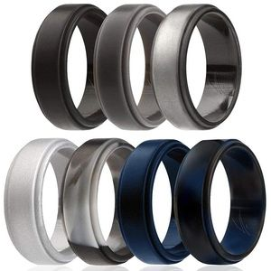 Singles Silicone Rubber Wedding Bands - 7 Pcs